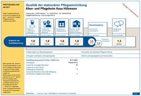 """Qualität der stationären Pflegeeinrichtung, Alten- und Pflegeheim """"Haus Hülsmann"""""""