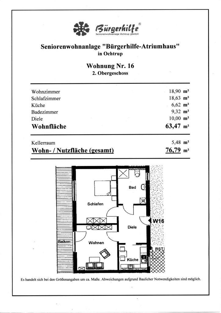 """Seniorenwohnanlage """"Bürgerhilfe-Atriumhaus"""", Ochtrup, Wohnung 16"""