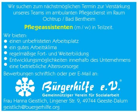 Pflegeassistenten, ambulanter Pflegedienst, Ochtrup, Bad Bentheim
