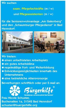 """Pflegefachkräfte, Pflegeassistenten, Seniorenwohnanlage """"Am Galenberg"""", Bad Nenndorf"""