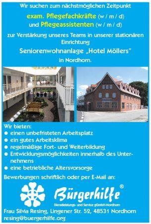exam. Pflegefachkräfte, Pflegeassistenten, Seniorenwohnanlage 'Hotel Möllers', Nordhorn