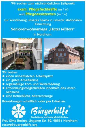 """Pflegefachkräfte, Pflegeassistenten, Seniorenwohnanlage """"Hotel Möllers"""", Nordhorn"""