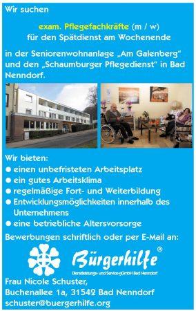 "exam. Pflegefachkraft, Seniorenwohnanlage ""Am Galenberg"", Bad Nenndorf"