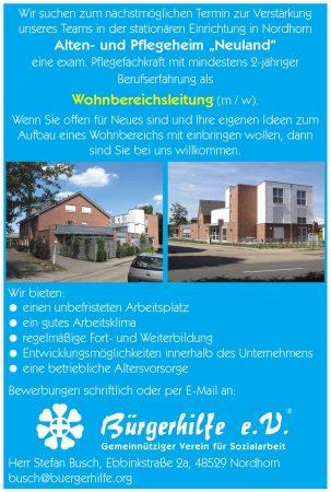 Wohnbereichsleitung, Alten- und Pflegeheim 'Neuland', Nordhorn