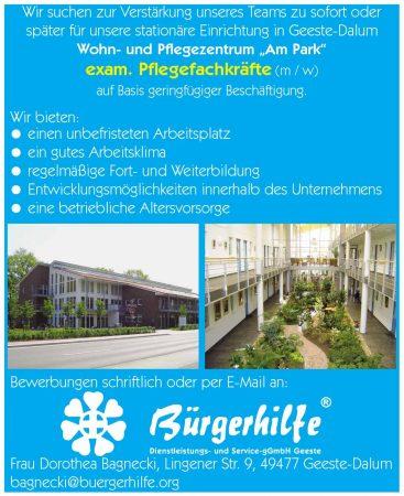 """Exam. Pflegefachkraft, Wohn- und Pflegezentrum """"Am Park"""", Geeste-Dalum"""