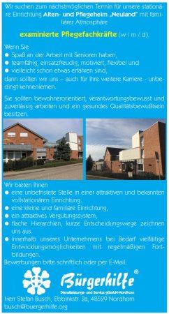 """exam. Pflegefachkräfte, Alten- und Pflegeheim """"Neuland"""", Nordhorn"""