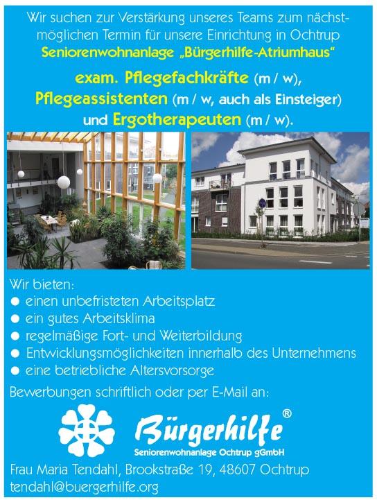 exam. Pflegefachkräfte, Pflegeassistenten, Ergotherpeuten, Seniorenwohnanlage 'Bürgerhilfe-Atriumhaus', Ochtrup