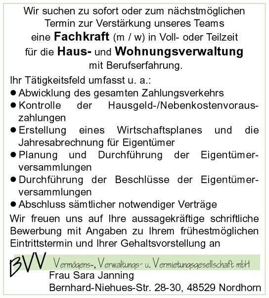 Fachkraft für die Haus- und Wohnungsverwaltung, Nordhorn