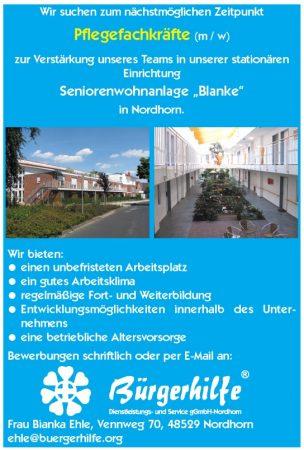 """exam. Pflegefachkräfte, Seniorenwohnanlage """"Blanke"""", Nordhorn"""