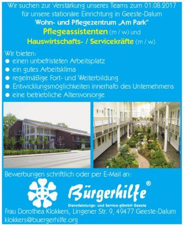 """Pflegeassistenten, Hauswirtschaftskräfte, Servicekräfte, Wohn- und Pflegezentrum """"Am Park"""", Geeste-Dalum"""