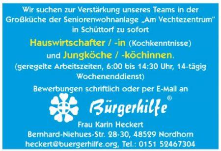 Hauswirtschafter/in, Jungköche/-innen, Am Vechtezentrum, Schüttorf