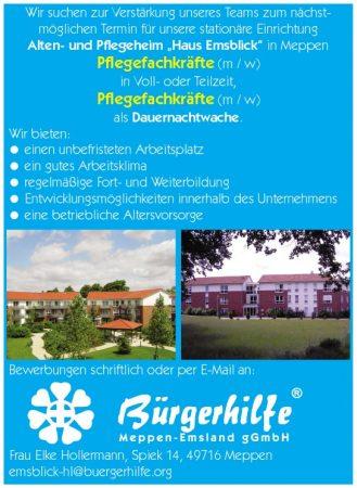 Pflegefachkräfte, Dauernachtwache, Alten- und Pflegeheim Emsblick, Meppen