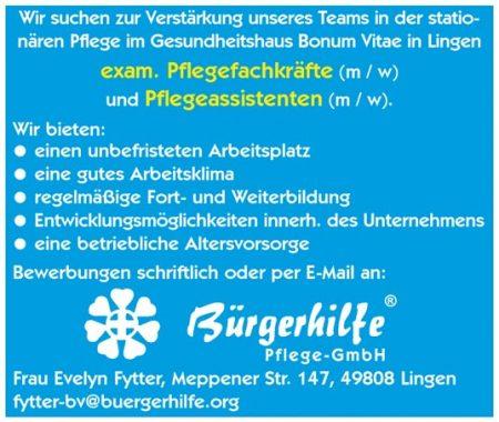 Exam. Pflegefachkräfte, Pflegeassistenten, Gesundheitshaus Bonum Vitae, Lingen
