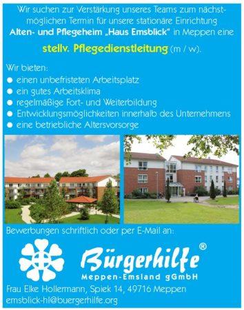 """stellv. Pflegedienstleitung, Alten- und Pflegeheim """"Haus Emsblick"""", Meppen"""