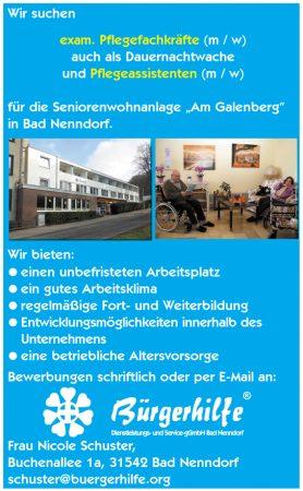 Pflegefachkräfte, Dauernachtwachen, Pflegeassistenten, Seniorenwohnanlage Am Galenberg, Bad Nenndorf