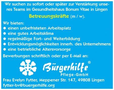Betreuungskräfte, Gesundheitshaus Bonum Vitae, Lingen