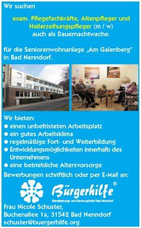 Pflegefachkräfte, Altenpfleger, Heilerzeihungspfleger, Seniorenwohnanlage Am Galenberg, Bad Nenndorf