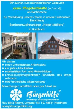 exam. Pflegefachkräfte als Nachtwache, Seniorenwohnanlage 'Hotel Möllers', Nordhorn