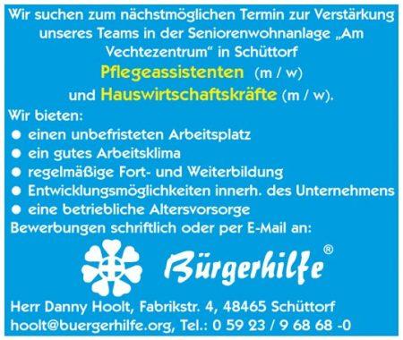 Pflegeassistenten, Hauswirtschaftskräfte, Seniorenwohnanlage Am Vechtezentrum, Schüttorf