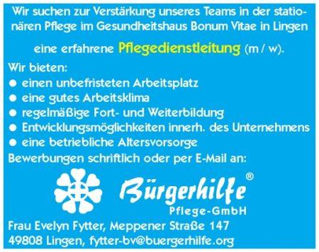 Pflegedienstleitung, Gesundheitshaus Bonum Vitae, Lingen