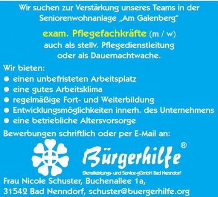 """exam. Pflegefachkräfte, Seniorenwohnanlage """"Am Galenberg"""", Bad Nenndorf"""