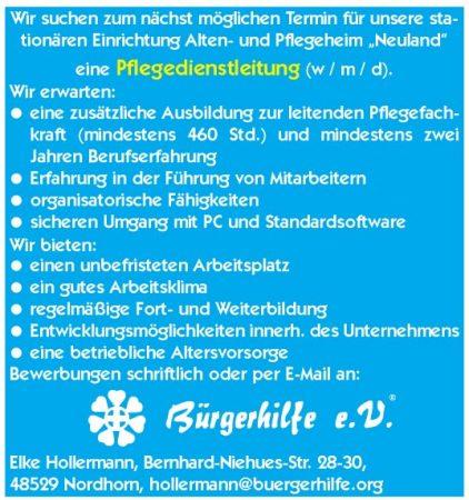 Pflegedienstleitung, Alten- und Pflegeheim 'Neuland', Nordhorn