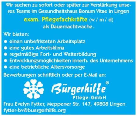 exam. Pflegefachkraft als Dauernachtwache, Gesundheitshaus 'Bonum Vitae', Lingen