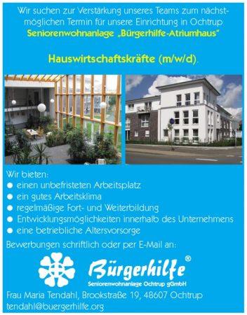 Hauswirtschaftskräfte, Seniorenwohnanlage 'Bürgerhilfe-Atriumhaus', Ochtrup
