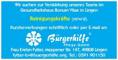 Reinigungskräfte, Gesundheitshaus 'Bonum Vitae', Lingen