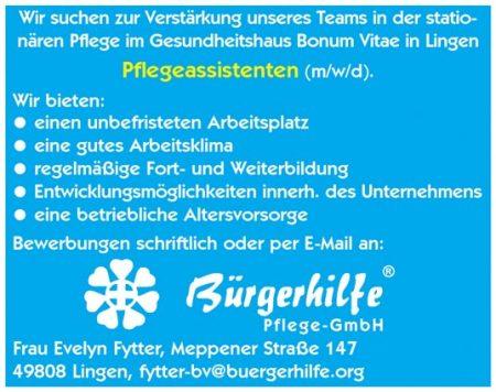 Pflegeassistenten, Gesundheitshaus 'Bonum Vitae', Lingen
