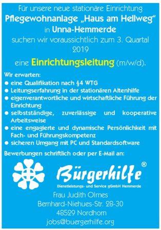 Einrichtungsleitung, Pflegewohnanlage 'Haus am Hellweg', Unna-Hemmerde
