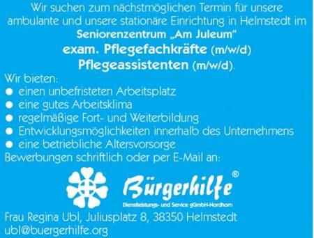"""exam. Pflegefachkräfte, Pflegeassistenten, Seniorenzentrum """"Am Juleum"""", Helmstedt"""