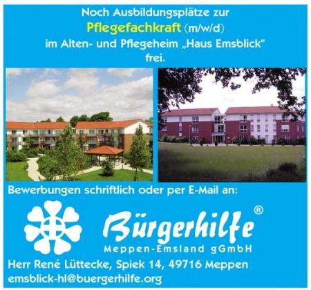 """Ausbildungsplatz zur Pflegefachkraft, Alten- und Pflegeheim """"Haus Emsblick"""", Meppen"""