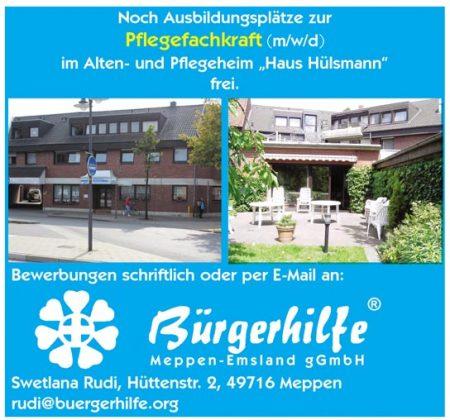 """Ausbildungsplatz zur Pflegefachkraft, Alten- und Pflegeheim """"Haus Hülsmann, Meppen"""