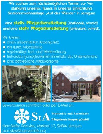 """stellv. Pflegedienstleitungen, ambulant und stationär, Seniorenwohnanlage """"Auf der Wierde"""", Jemgum"""
