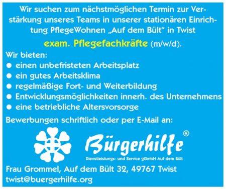 """exam. Pflegefachkräfte, PflegeWohnen """"Auf dem Bült"""", Twist"""
