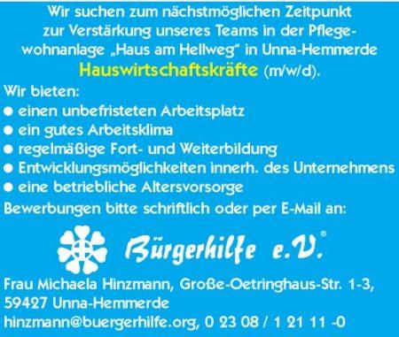"""Hauswirtschaftskräfte, Pflegewohnanlage """"Haus am Hellweg"""", Unna-Hemmerde"""