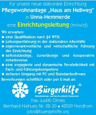 """Einrichtungsleitung, Pflegewohnanlage """"Haus am Hellweg"""", Unna-Hemmerde"""