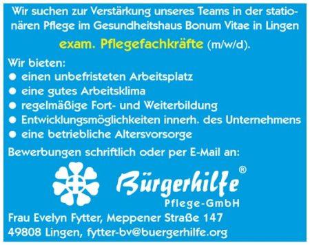 """exam. Pflegefachkräfte, Gesundheitshaus """"Bonum Vitae"""", Lingen"""