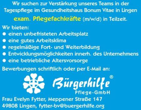 """exam. Pflegefachkräfte, Tagespflege """"Herbstzeitlose"""", Lingen"""
