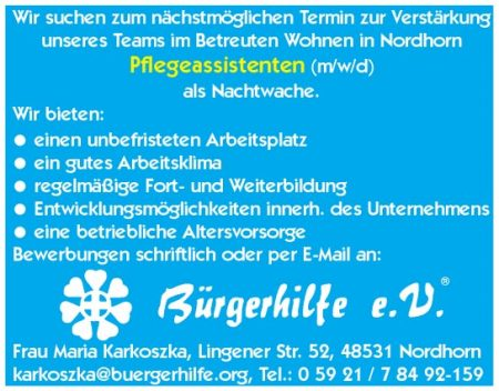 Pflegeassistenten, Betreutes Wohnen, Nordhorn