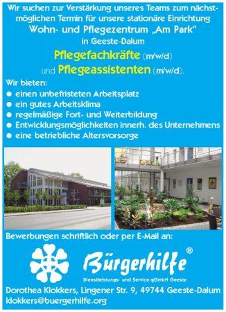 """Pflegefachkräfte, Pflegeassistenten, Wohn- und Pflegezentrum """"Am Park"""", Geeste-Dalum"""