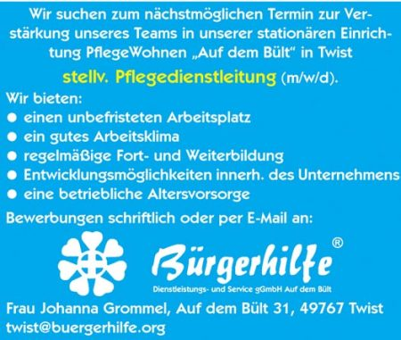 """stellv. Pflegedienstleitung, PflegeWohnen """"Auf dem Bült"""", Twist"""
