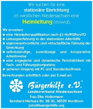 Heimleitung, westliches Niedersachsen