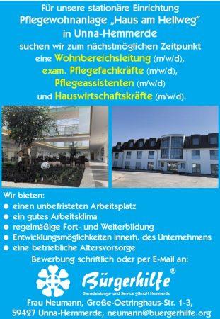 """Wohnbereichsleitung, exam. Pflegefachkräfte, Pflegeassistentin, Hauswirtschaftskräfte, Pflegewohnen """"Haus am Hellweg"""", Unna-Hemmerde"""