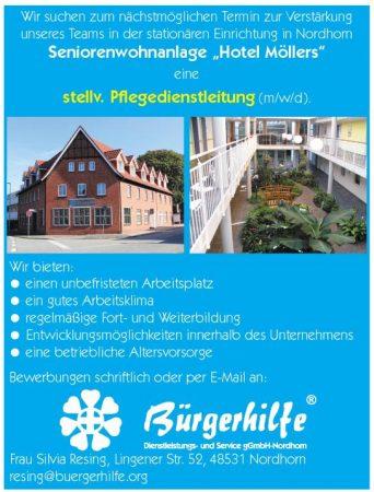 """stellv. Pflegedienstleitung, Seniorenwohnanlage """"Hotel Möllers"""", Nordhorn"""