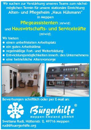 """Pflegeassistenten, Hauswirtschafts- und Servicekräfte, Alten- und Pflegeheim """"Haus Hülsmann, Meppen"""