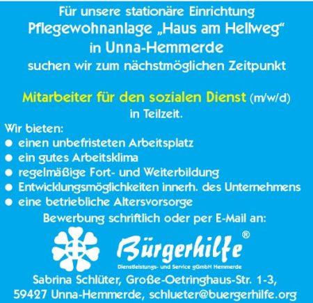 """Mitarbeiter für den sozialen Dienst, Pflegewohnanlage """"Haus am Hellweg"""", Unna-Hemmerde"""