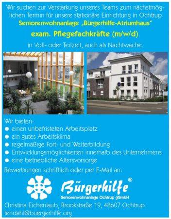 """exam. Pflegefachkräfte, Seniorenwohnanlage """"Bürgerhilfe-Atriumhaus"""", Ochtrup"""