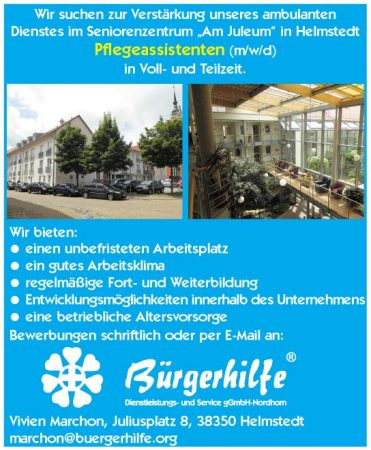 "Pflegeassistenten, Seniorenzentrum ""Am Juleum"", Helmstedt"